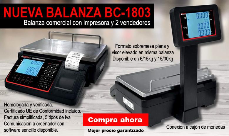 Balanza comercial BC-1803 en formato sobremesa plano y torre - visor elevado en www.todobalanzas.com